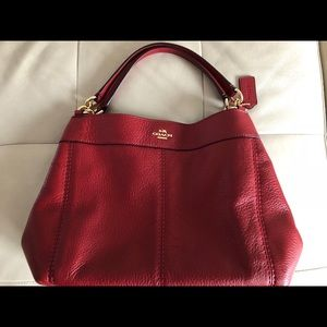 Coach Small Lexy Shoulder Bag in Red Leather